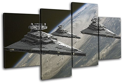 Bold Bloc Design - Star Wars Star Destroyer Movie Greats 120x68cm MULTI Canvas Art Print Box Framed Picture Wall Hanging - Hand Made In The UK - Framed And Ready To Hang by Bold Bloc Design