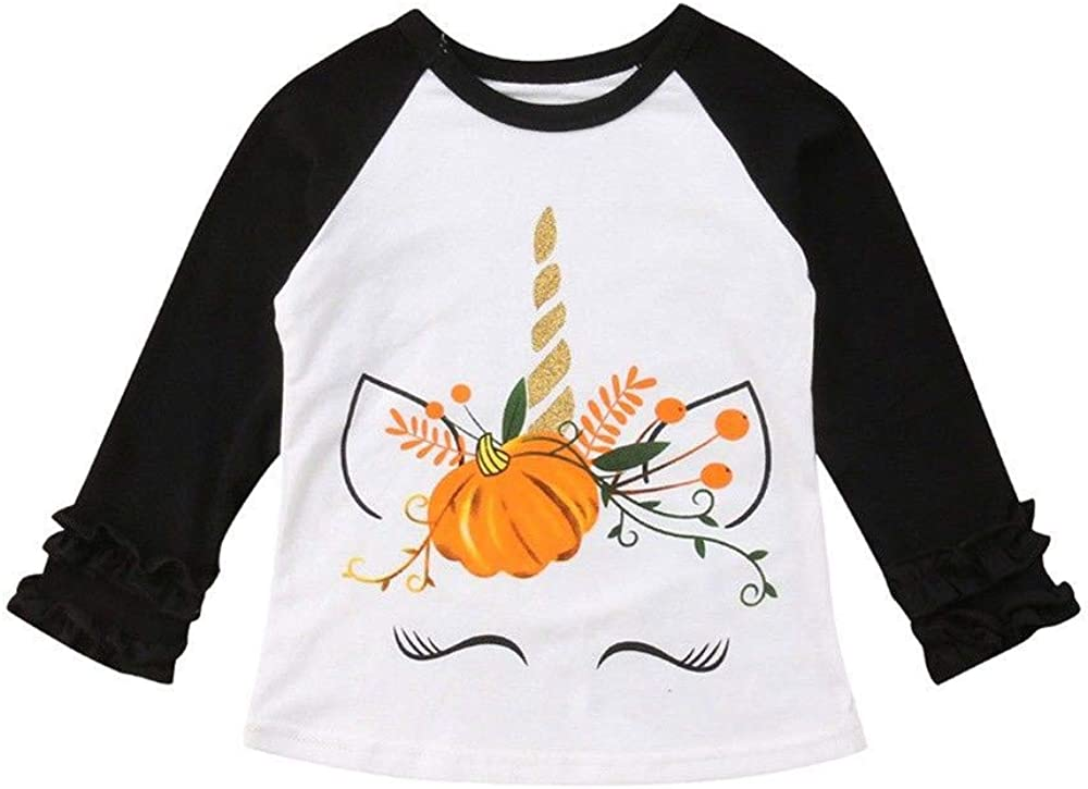 Clode for 0-5 Years Old Toddler Baby Kids Girls Long Sleeve Animal Floral T-Shirt Tops Halloween Clothes