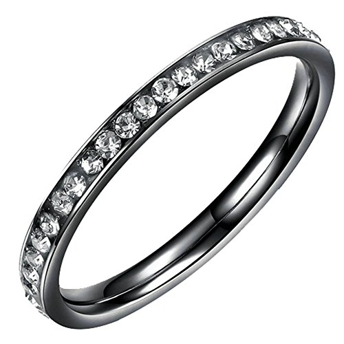 (Onefeart Stainless Steel Ring for Women Round Cubic Zirconia Single Row Zircon Black US Size 5)