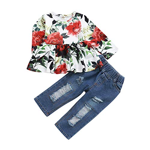 NZRVAWS Infants Clothes Girls Long Sleeve Floral Tops Denim Pants Ripped Blue Jeans for Girls 2PCS Summer Ruffle Outfits 1-2T]()