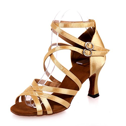 L@YC Female Ballroom Dancing Shoes Latin / Satin / Ballroom Sandals (Color) # Gold NFX3Ow8z