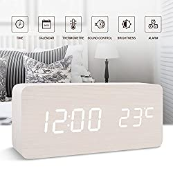FiBiSonic Digital Wood Clock,Desk Clock Alarm Clock for Kids Voice/Touch Control Silent Modern Style Alarm Clock with Thermometer, Best Gifts for Friends/Families