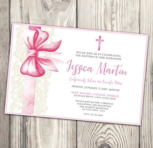 Baptism Invitation - Pink and White First Communion Invite - Naming Day - Christening - Confirmation - Photo - Bow - 4x6 - First Communion Photo Invitations