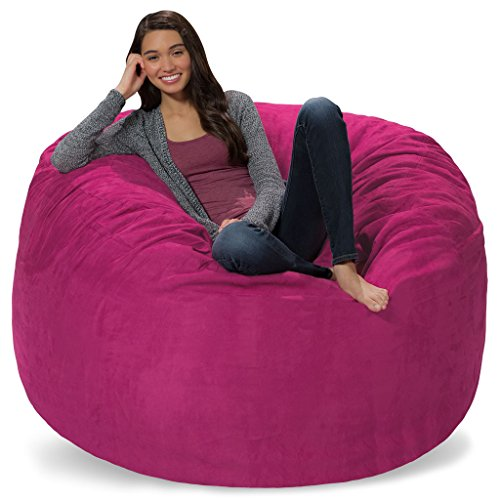 Comfy Sacks 5 ft Memory Foam Bean Bag Chair, Magenta Micro Suede (Magenta Bean Bag)