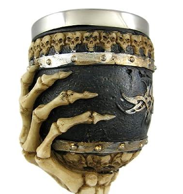 """Bellaa 21022 Ossuary Style Skeletal Wine Goblet Bones 7.5"""" Tall"""