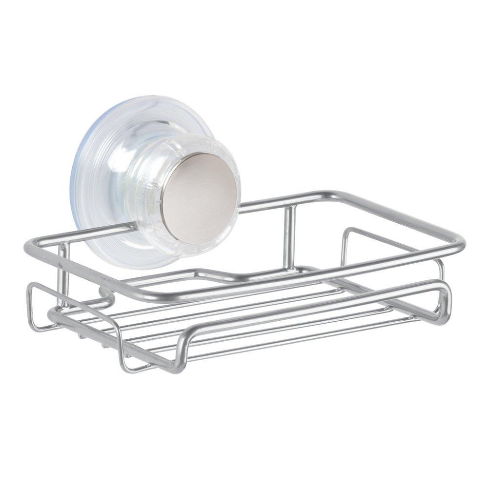 Silver InterDesign 27175 Turn-N-Lock Suction Bathroom Shower Caddy Corner Basket 2-Tier