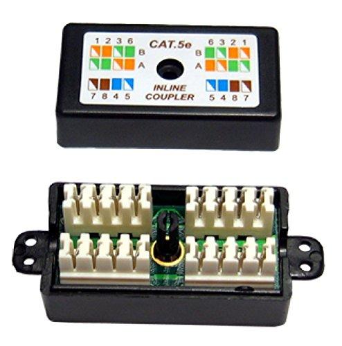 rhinocables RJ45 Cat 5 Gigabit Inline Punchdown Krone Coupler Joiner for Cat5e Ethernet Cables (Black) (Coupler Cable Joiner)