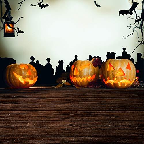 Yeele Halloween Backdrops 6.5x10ft Halloween Photography Background Pumpkin Brown Wooden Floor Pumpkin Face Bat Branch Pictures Baby Adult Artistic Portrait Photoshoot Props Wallpaper]()