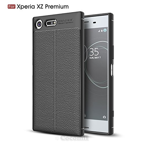New Premium Leather Case (Sony Xperia XZ Premium Case, Cocomii Ultimate Armor NEW [Heavy Duty] Premium Leather Pattern Slim Fit Shockproof Hard Bumper Shell [Military Defender] Full Body Dual Layer Rugged Cover (Black))