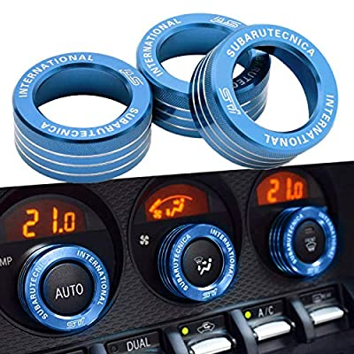 3x AC Knob Control Volume Blue Cover Rings Trim for Subaru BRZ GT86 FT86 FR-S: Automotive