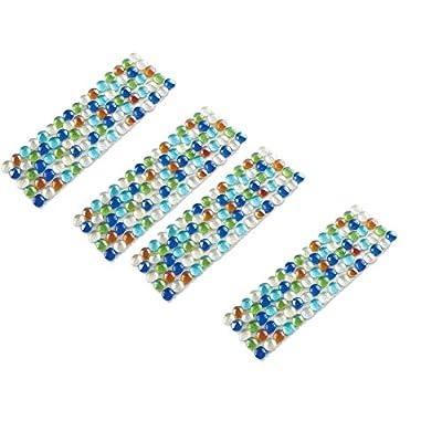 Multicolor Glass Border Garden Edging - Set of 4