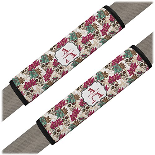 Sugar Skulls & Flowers Seat Belt Covers (Set of 2) (Personalized) (Car Cover Pink Skull Seat)