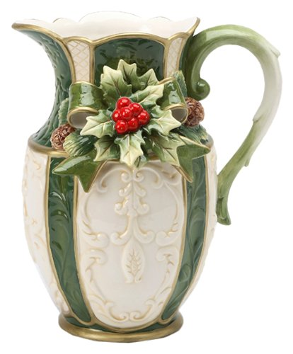 Christmas Tablescape Décor - Large emerald holiday holly serving pitcher