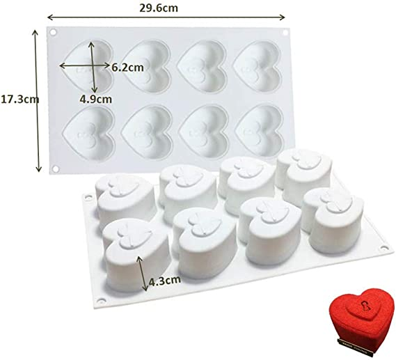 White 8 Holes Heart with 4 Keys Set of 5 Fyuan Silicone Moulds 3D Mousse DIY Mold for Cake Decoration Jelly Pudding Candy Chocolate