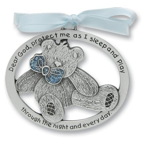 Sweet Teddy Bear Crib Medal for Baby Boy Crib Medal with Verse 2-1/2