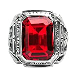 Beydodo Mens Silver Ring, Red Gemstone Ring Size 8 Men Rings Hip Hop