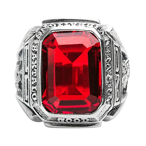 Beydodo Mens Silver Ring, Red Gemstone Ring Size 8 Men Rings Hip Hop by Beydodo