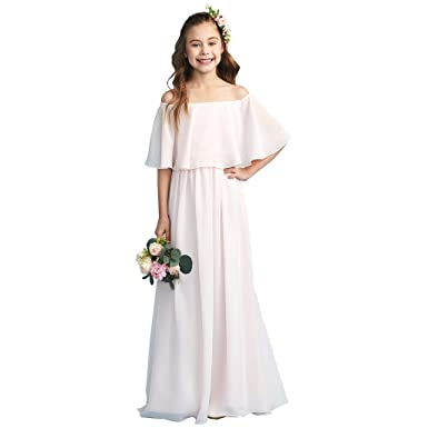 LightInTheBox A-Line Princess Off Shoulder Floor Length Chiffon Junior  Bridesmaid Dress with Pleats Black a090357ffd80