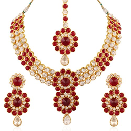 I Jewels Gold Plated Jewellery Set with Maang Tikka for Women IJ254M (Maroon) by I Jewels