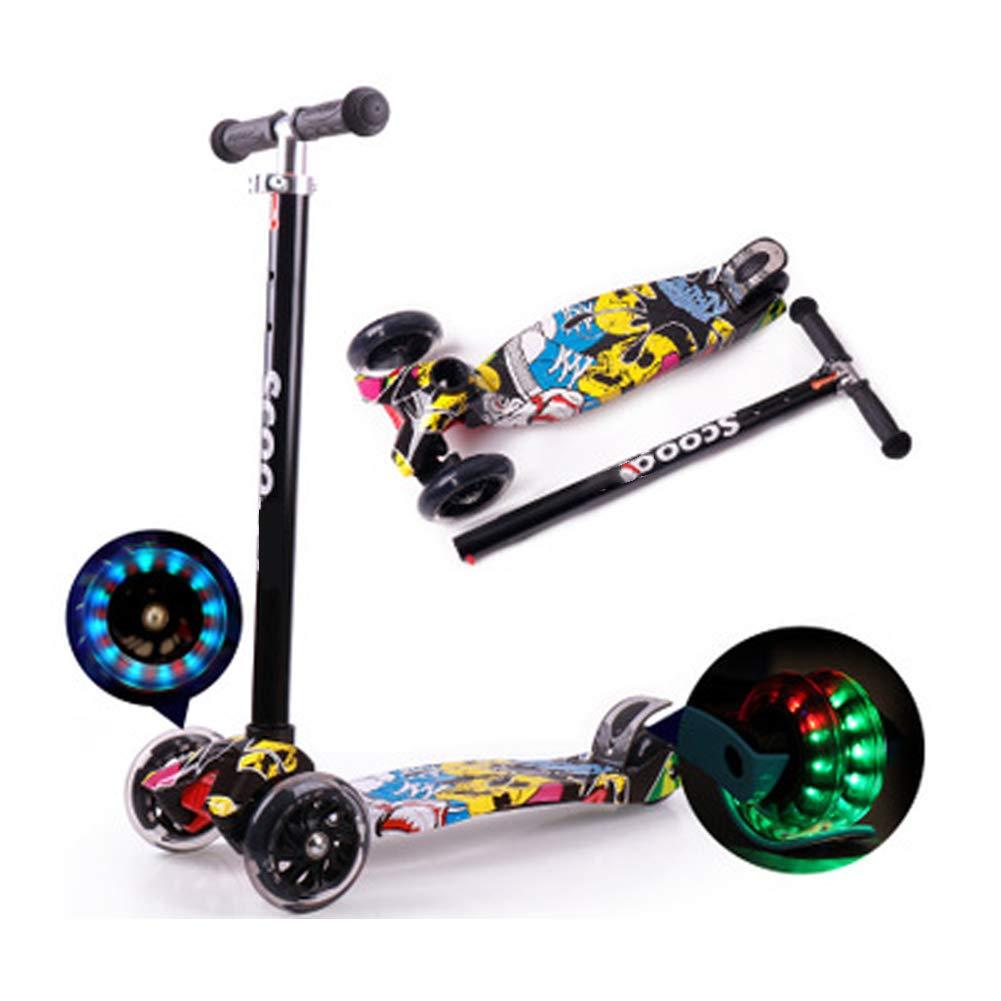 Graffiti Children's Scooter 3-6-12 Years Old Four-Wheel Flash Three-Wheeled Stroller Detachable Scooter, yo-yo-Black