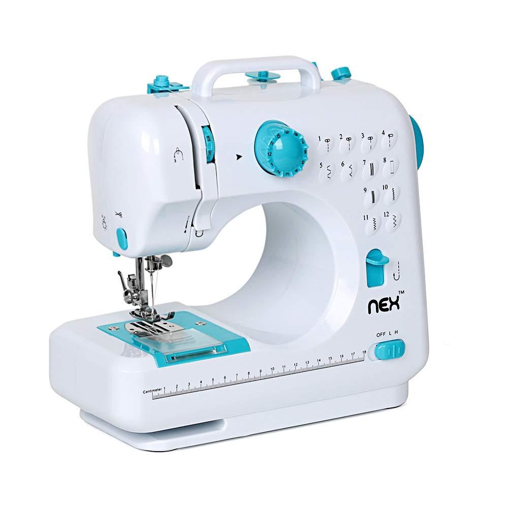 Sewing Machine Portable Crafting Mending Machine with 12 Built-in Stitches Double Thread and Speed for Beginner by NEX
