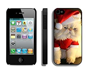 Recommend Design Christmas Wearing White Fur Lovely Cat Black TPU Case For Iphone 4s,Apple Iphone 4 Case