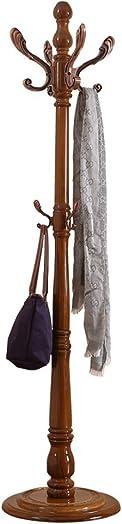 COAT RACK European Oak Floor Household Storage Hangers Assembly Single Pole Clothes Rack Color Antique color