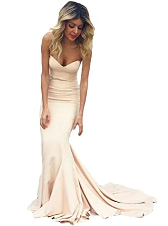 c85a5abaae9 Dreagel Women s Strapless Mermaid Prom Dresses Long Formal Evening Dress  2019 Champagne US 2