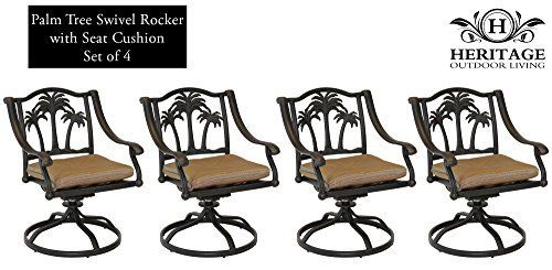 Heritage Outdoor Living Palm Tree Cast Aluminum Swivel Rocker - Set of 4 - Antique - Swivel Rocker Frontgate