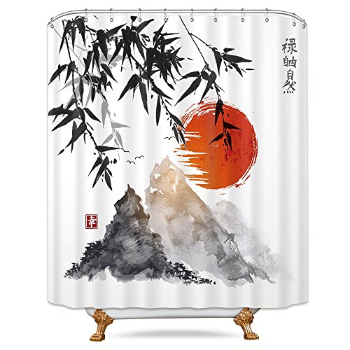 hower Curtain 72x78 Inch Free Metal Hooks 12-Packs Red Sunset Chinese Character Painting Bamboo Mountain Landscape Decor Fabric Set ()