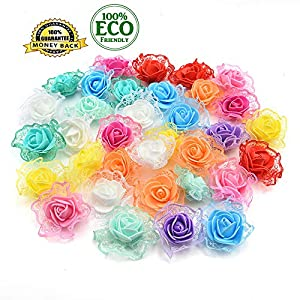 Silk Flowers in Bulk Wholesale Mini PE Foam Rose Artificial Flower Heads Home Decorative Wreaths Supplies Wedding Party DIY Crafts Decoration 30Pcs/lot 4.5cm (Colorful) 46