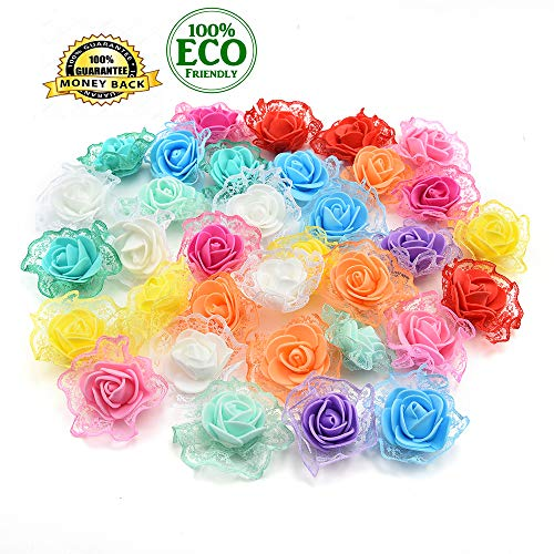Silk Flowers in Bulk Wholesale Mini PE Foam Rose Artificial Flower Heads Home Decorative Wreaths Supplies Wedding Party DIY Crafts Decoration 30Pcs/lot 4.5cm (Colorful) -