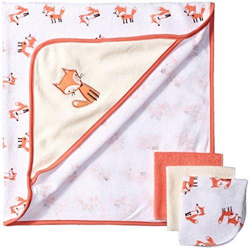 Rene Rofe Baby Baby 4 Piece Bath Set, Orange Fox, One Size