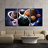 wall26 - 3 Piece Canvas Wall Art - High resolution images presents planets of the solar system. - Modern Home Decor Stretched and Framed Ready to Hang - 24''x36''x3 Panels