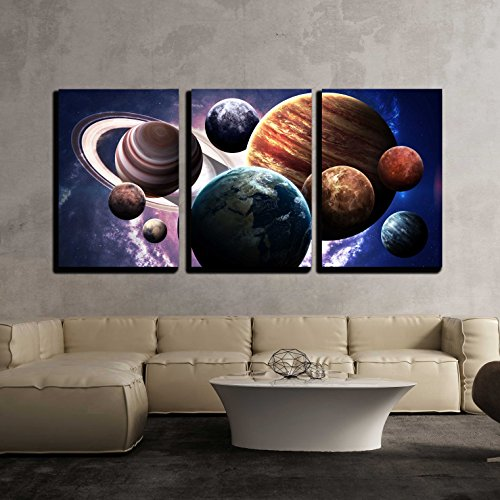 wall26 - 3 Piece Canvas Wall Art - High resolution images presents planets of the solar system. - Modern Home Decor Stretched and Framed Ready to Hang - 24''x36''x3 Panels by wall26
