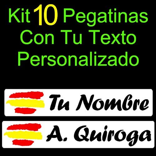 Vinilin - Kit 10 Pegatinas Vinilo Impreso Bandera España + Tu ...