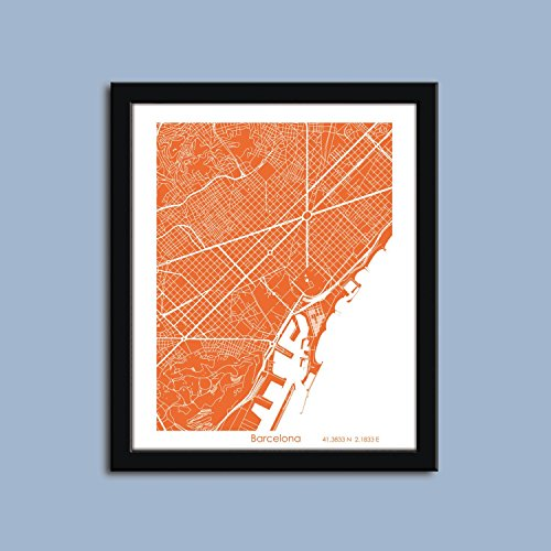 Barcelona map, Barcelona city map art, Barcelona wall art poster, Barcelona decorative map
