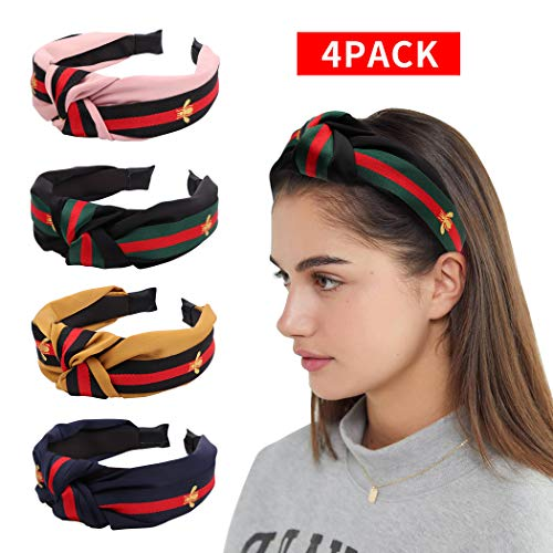 Price comparison product image Red Green Stripe Headbands for Women,  Allucho 4 PCS Wide Headbands Cross Knotted Hairband Cute Hair Hoop with Bee Animal Headwrap for Girls Adult Halloween Christmas Party Decorations Hair Accessories