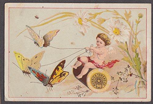 Merrick Thread Rollin C Jones Charlotte MI trade card 1880s butterflies & cherub -