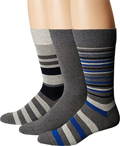 Cole Haan Mens Town Stripe Crew 3-Pack Charcoal Heather/Oxford Heather/Navy One Size One Size