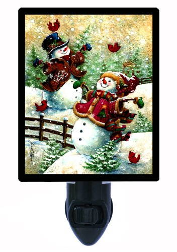 Night Cardinals Light Glass (Snowman Night Light - Gotta Love Snow)