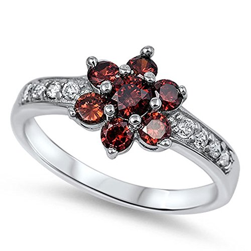 Sterling Silver Garnet Flower Ring (Simulated Garnet Flower Polished Simple Ring New .925 Sterling Silver Band Size 6)