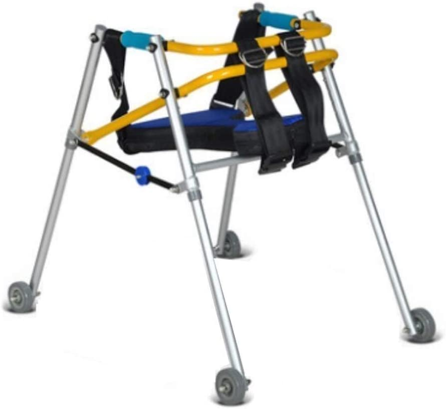 LXDDJZXQ Walker, andador de rehabilitación infantil, andador plegable con rueda y asiento para parálisis cerebral y rehabilitación de extremidades inferiores (tamaño mediano)