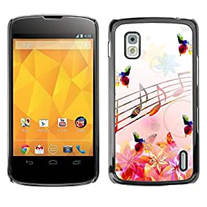 Be Good Phone Accessory // Dura Cáscara cubierta Protectora Caso Carcasa Funda de Protección para LG Google Nexus 4 E960 // Music Notes Pink Flowers Butterflies Nature