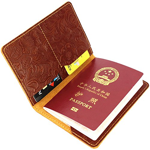 LXFF Women Leather Passport Holder Cover Travel Wallet Passport Case -Brown Vintage Embossed Leather -
