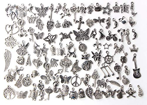 100 pcs Mix Wholesale Antique Silver Personality Pendant Charms Tortoise Horse Butterfly Tree Dolphin Mermaid Charms Pendants for Crafting, Jewelry Findings Making Accessory for DIY Necklace Bracelet
