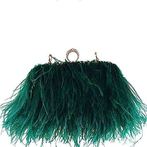 - Zakia Real Natural Ostrich Feather Evening Clutch Shoulder Bag Party Bag (Green)