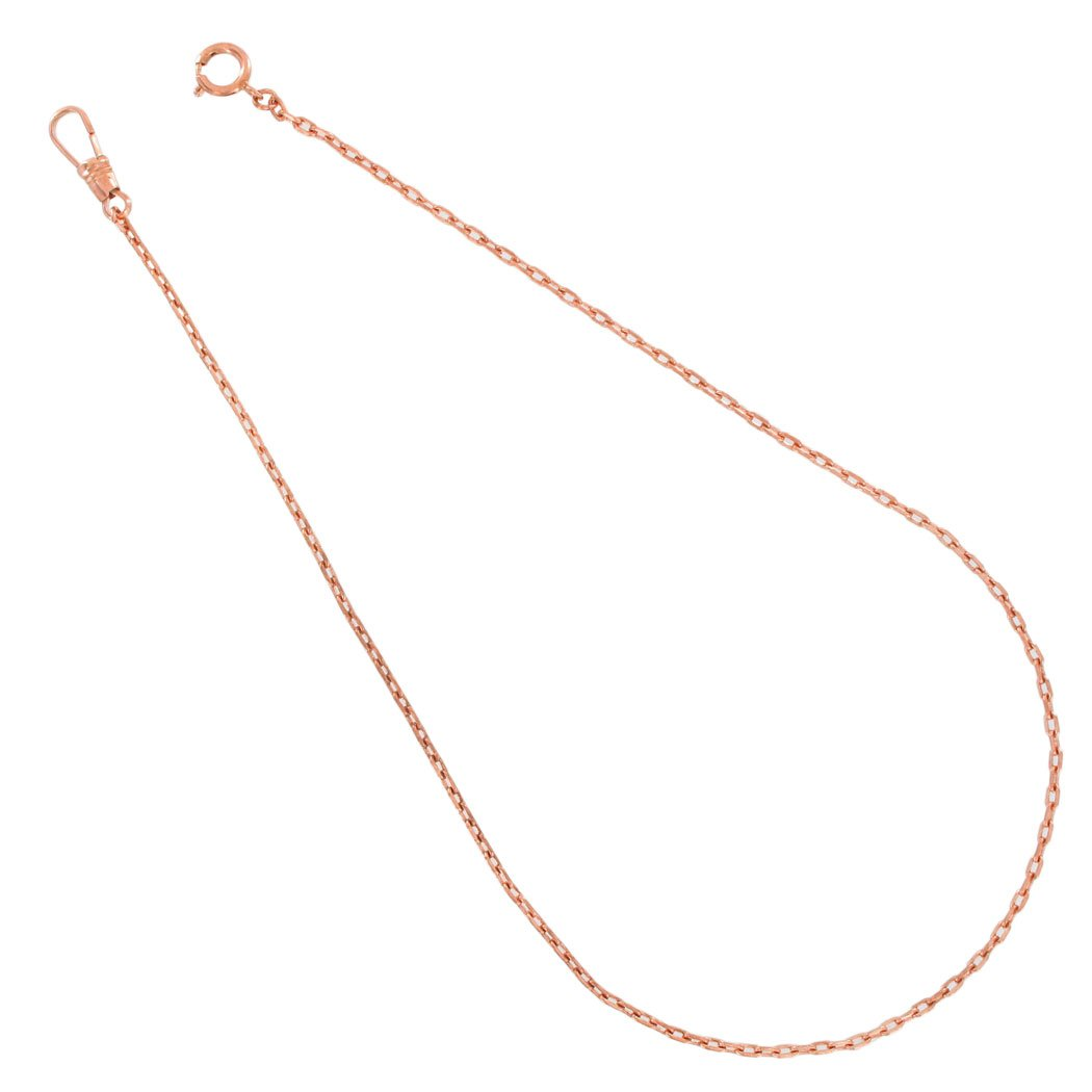 Ky & Co Dark Rose Gold Copper Tone Thin Cable Link Pocket Watch Chain 18'' Long Made in USA