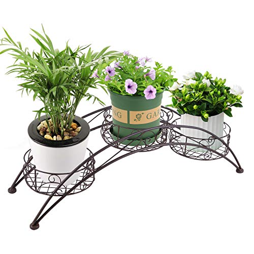 Joveco Black European Style Wrought Iron Flower Racks Multi Store Balcony Living Room Floor Minimalist Folding Scroll and Ivy Plant Stand Patio Garden Pergolas Outdoor Brushed Bronze (3 Tiers Arched)