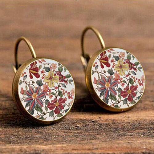 Vintage Retro Women Glass Round Chrysanthemum Flower Ear Stud Pierced Earrings (Bronze)